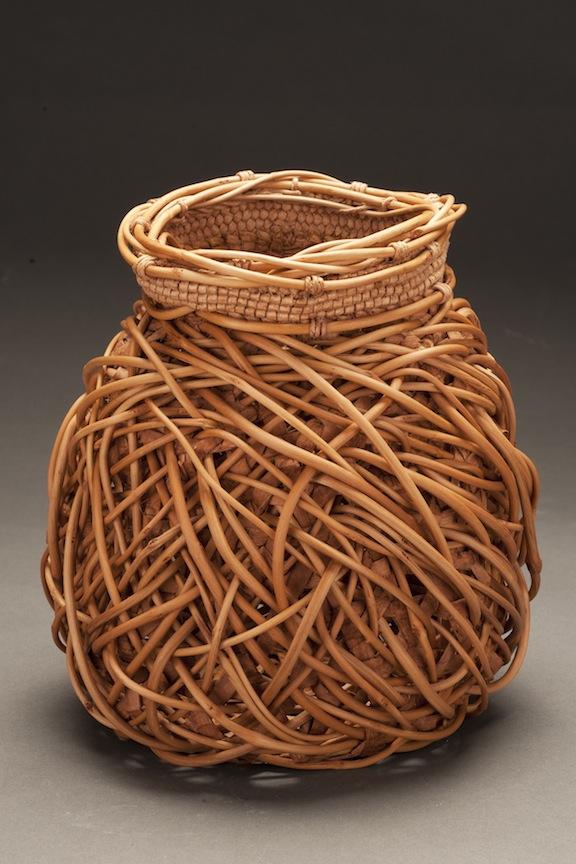 Jennifer Zurick - Entwined #732 - willow bark and honeysuckle vine basket created using hexagonal weave, random weave and wrap twining